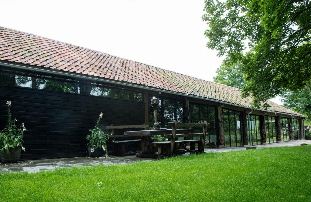 Dewsall Court - Wainhouse Barn renovation, terrace